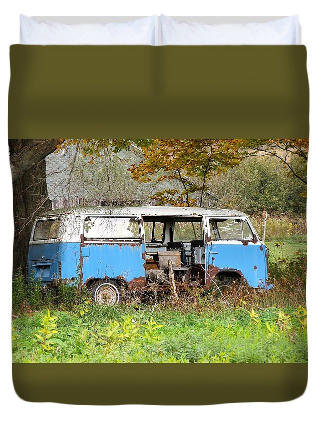 Van Duvet Cover featuring the photograph Old Abandoned Hippie Van by Kenneth Summers
