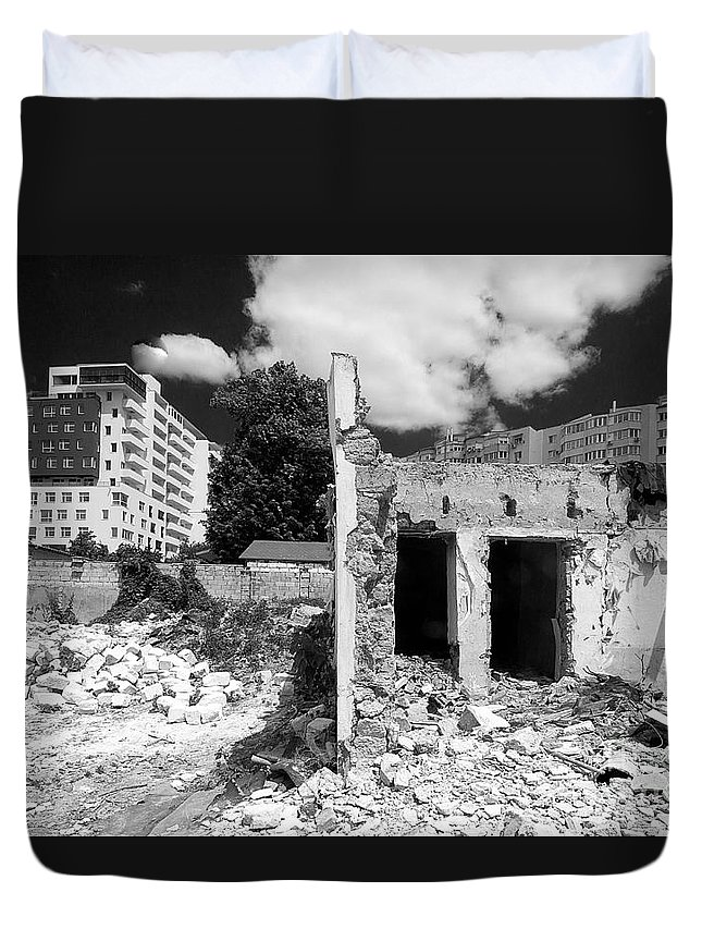 Old Against New Duvet Cover featuring the photograph Old Against New by Christian Hallweger