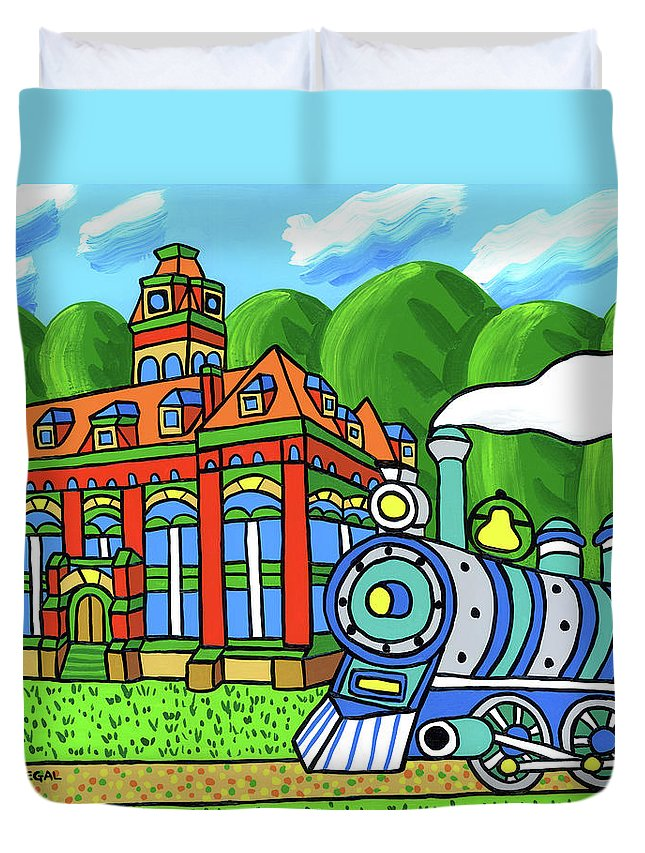 Courthouse Duvet Cover featuring the painting Old Alachua County Courthouse by Mike Segal
