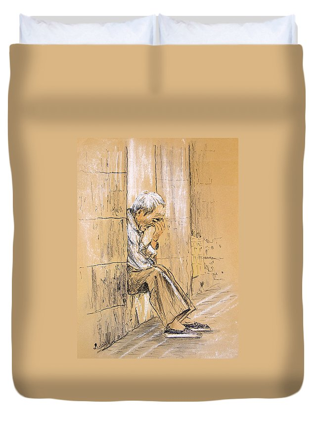 Pastel Duvet Cover featuring the drawing Old And Lonely In Spain 01 by Miki De Goodaboom