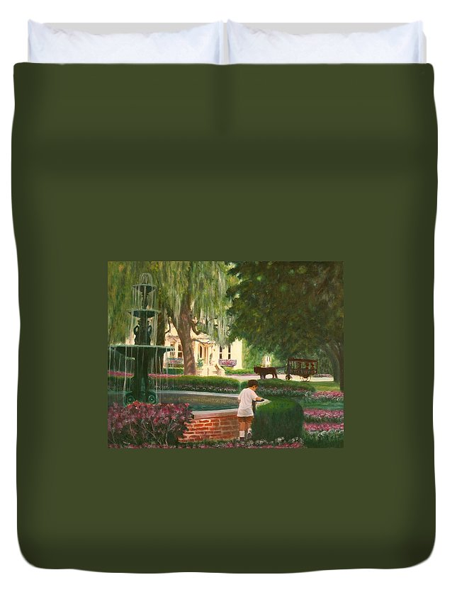 Savannah; Fountain; Child; House Duvet Cover featuring the painting Old And Young Of Savannah by Ben Kiger