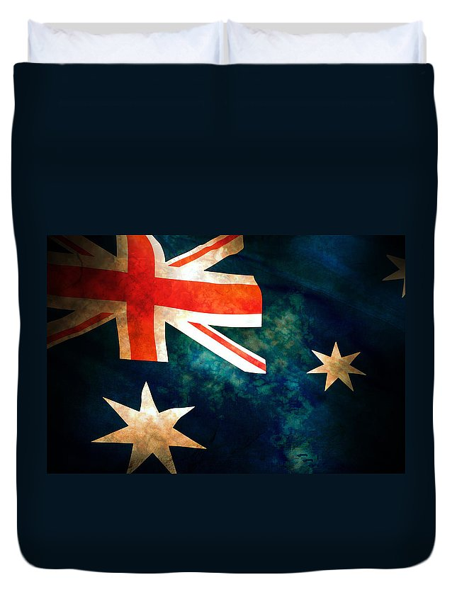 Australia Duvet Cover featuring the photograph Old Australian Flag by Phill Petrovic
