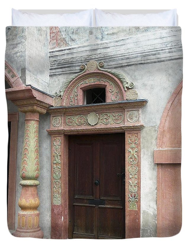 Old Duvet Cover featuring the photograph Old Austrian Door by Valerie Ornstein