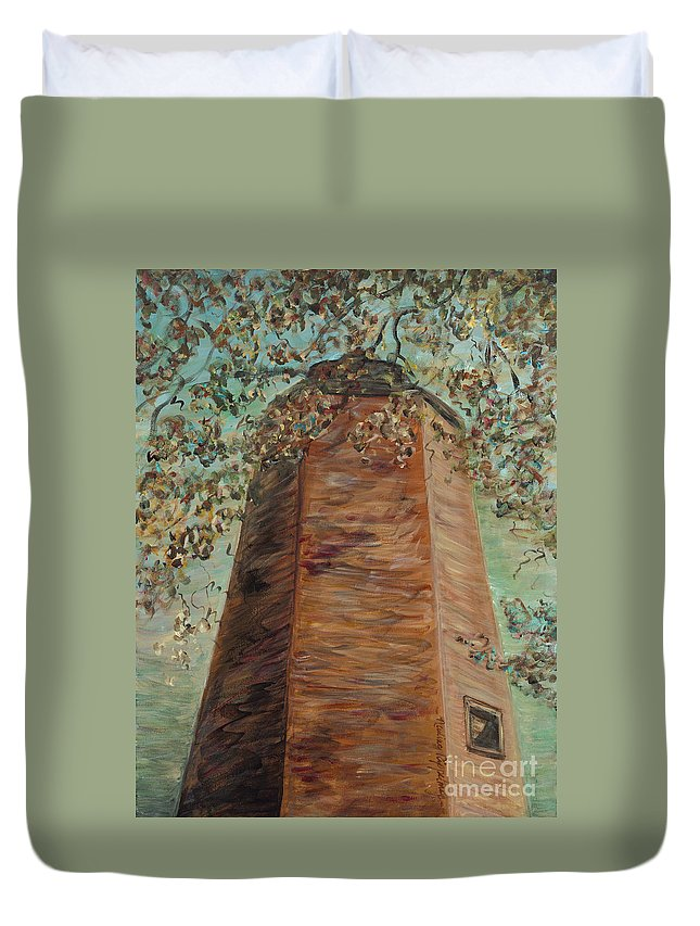 Old Baldy Duvet Cover featuring the painting Old Baldy Light House In Teal by Nadine Rippelmeyer