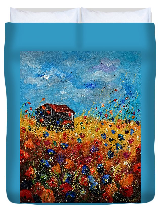 Flowers Duvet Cover featuring the painting Old Barn And Wild Flowers by Pol Ledent