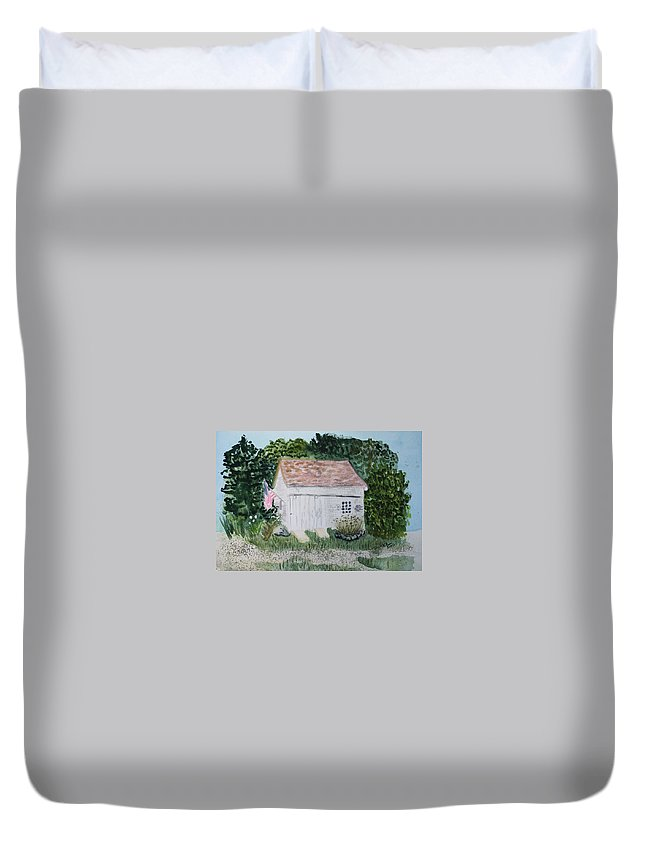 Barn Duvet Cover featuring the painting Old Barn In Eastham Ma by Donna Walsh