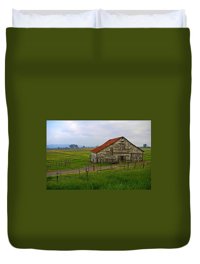 Barn Duvet Cover featuring the photograph Old Barn In The Mustard Fields by Tom Reynen
