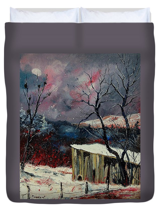 Winter Duvet Cover featuring the painting Old Barn In Winter by Pol Ledent