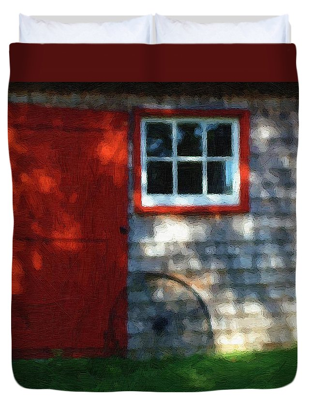 Autumn Duvet Cover featuring the painting Old Barn New Paint by RC DeWinter