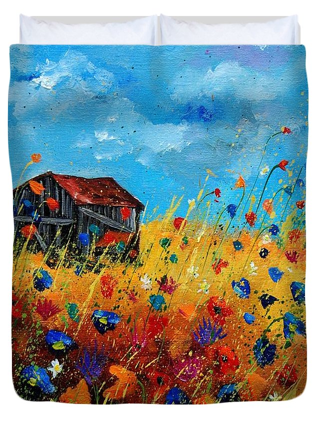 Poppies Duvet Cover featuring the painting Old Barn by Pol Ledent
