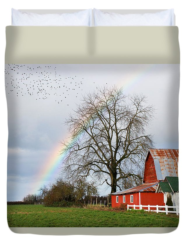 Flying Duvet Cover featuring the photograph Old Barn Rainbow by Randall Ingalls