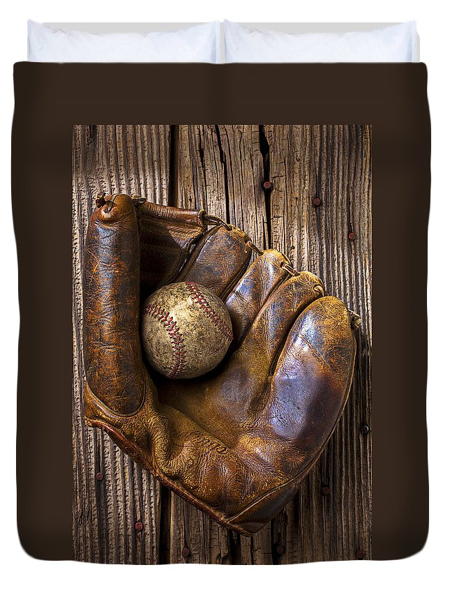 Old Duvet Cover featuring the photograph Old Baseball Mitt And Ball by Garry Gay
