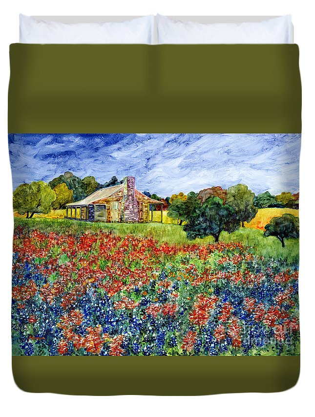 Bluebonnet Duvet Cover featuring the painting Old Baylor Park by Hailey E Herrera