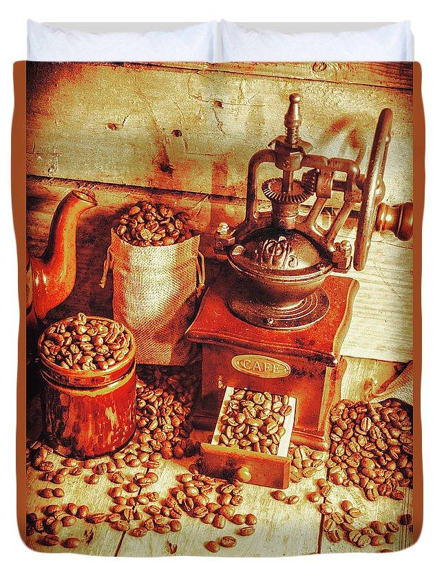 Restaurant Duvet Cover featuring the photograph Old Bean Mill Decor. Kitchen Art by Jorgo Photography - Wall Art Gallery