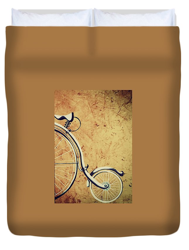 Vintage Duvet Cover featuring the painting Old Bicycle-part Two by Manzar Arts