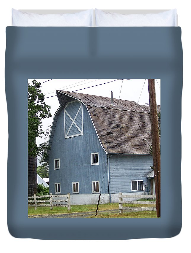 Old Duvet Cover featuring the photograph Old Blue Barn Littlerock Washington by Laurie Kidd