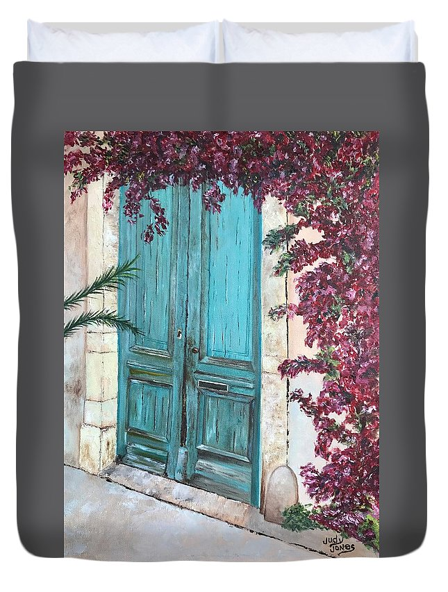 Old Duvet Cover featuring the painting Old Blue Doors by Judy Jones