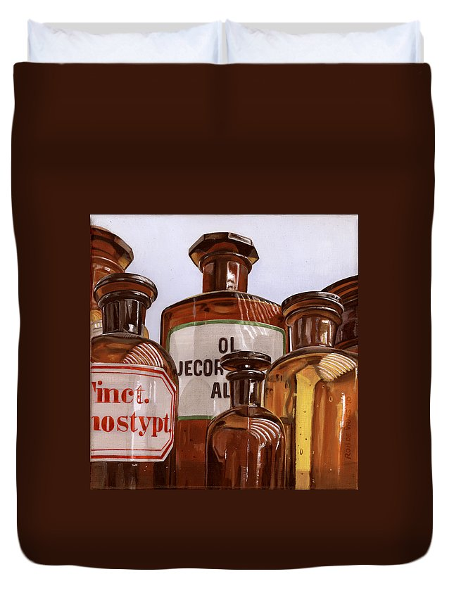 Vintage Duvet Cover featuring the painting Old Bottles by Rob De Vries