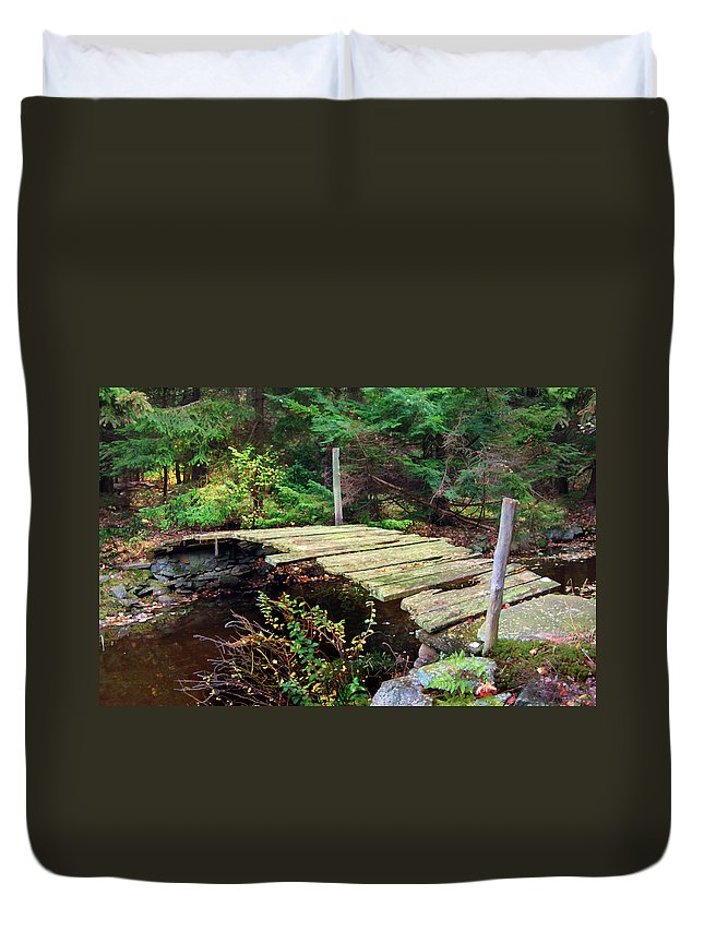 Bridge Old Relic Ancient Broken Decay Derelict Stream River Crossing Forest Woods Duvet Cover featuring the photograph Old Bridge by Francesa Miller