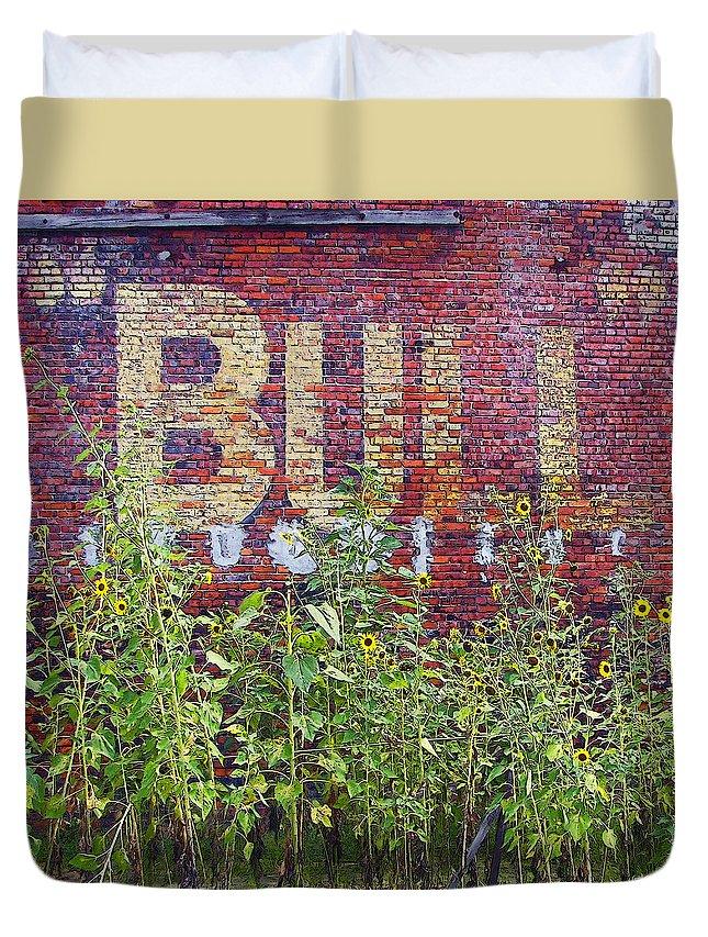 Rebecca Korpita Duvet Cover featuring the photograph Old Bull Durham Sign - Delta by Rebecca Korpita