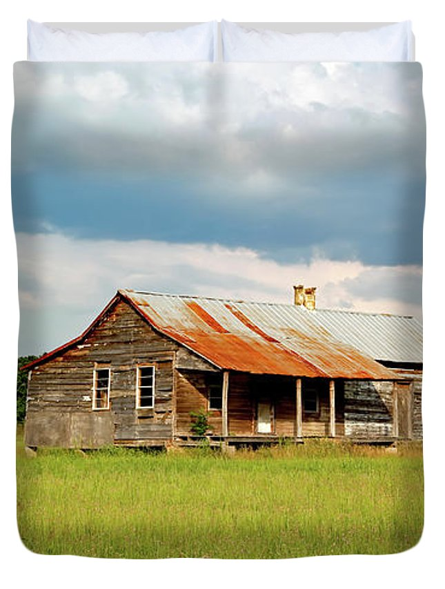 Alabama Duvet Cover featuring the photograph Old Cabin by Mountain Dreams