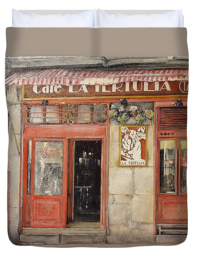 Cafe Duvet Cover featuring the painting Old Cafe- Santander Spain by Tomas Castano