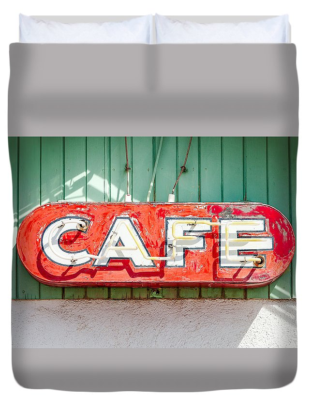 Cafe Duvet Cover featuring the photograph Old Cafe Sign by Todd Klassy