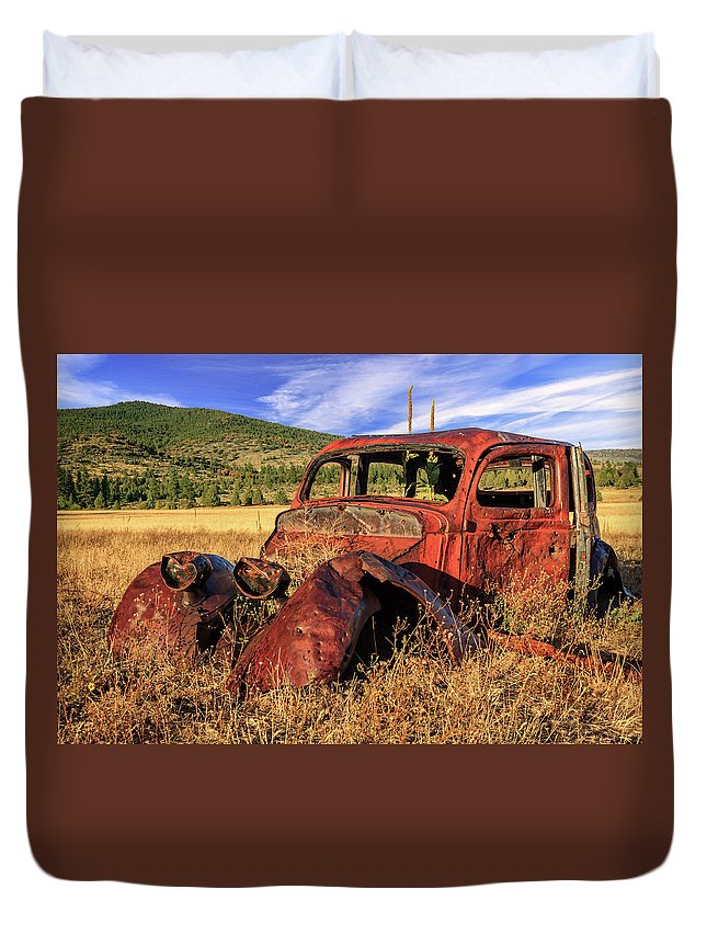 Rusty Duvet Cover featuring the photograph Old Car At Susanville Ranch by James Eddy