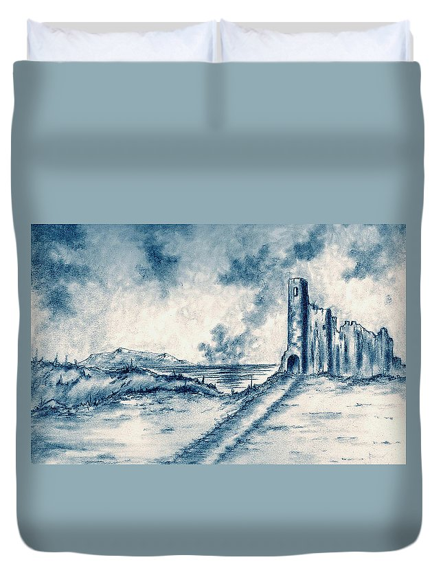 Castle Duvet Cover featuring the drawing Old Castle Ruins by Michael Vigliotti