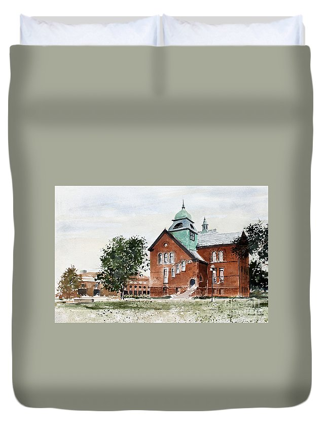 Old Central On The Oklahoma State University Campus. Duvet Cover featuring the painting Oklahoma State University Old Central by Monte Toon