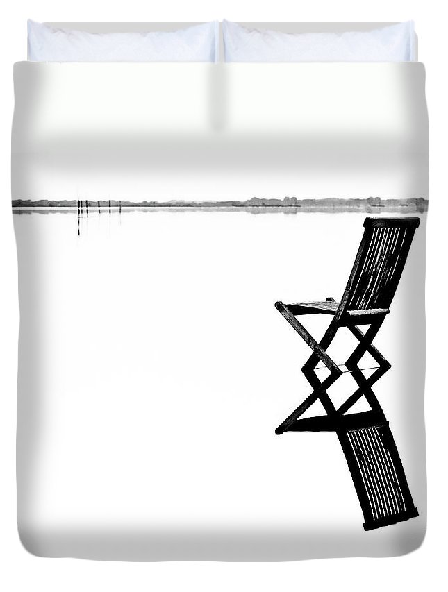 Landscape Duvet Cover featuring the photograph Old Chair In Calm Water by Gert Lavsen