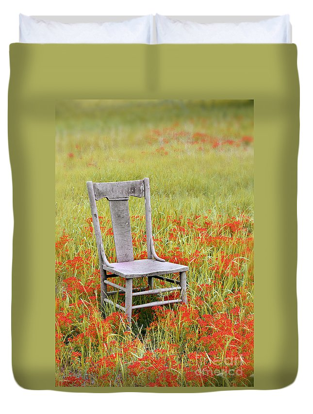 Chair Duvet Cover featuring the photograph Old Chair In Wildflowers by Jill Battaglia