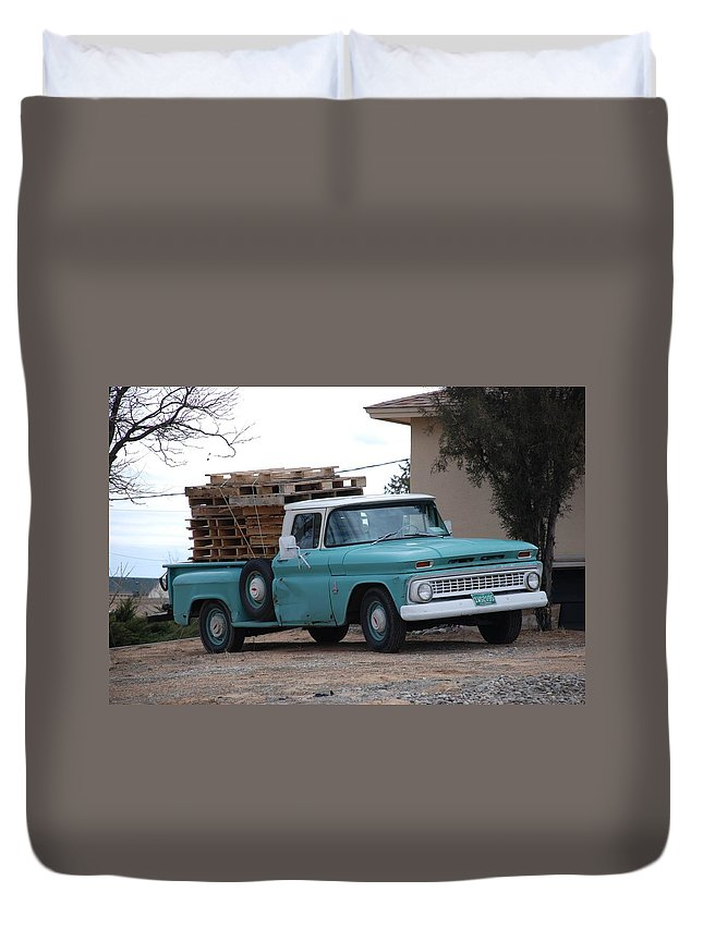 Old Truck Duvet Cover featuring the photograph Old Chevy by Rob Hans