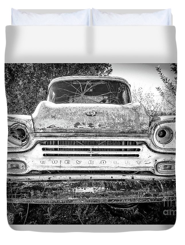 Mug Duvet Cover featuring the photograph Old Chevy Truck by Edward Fielding