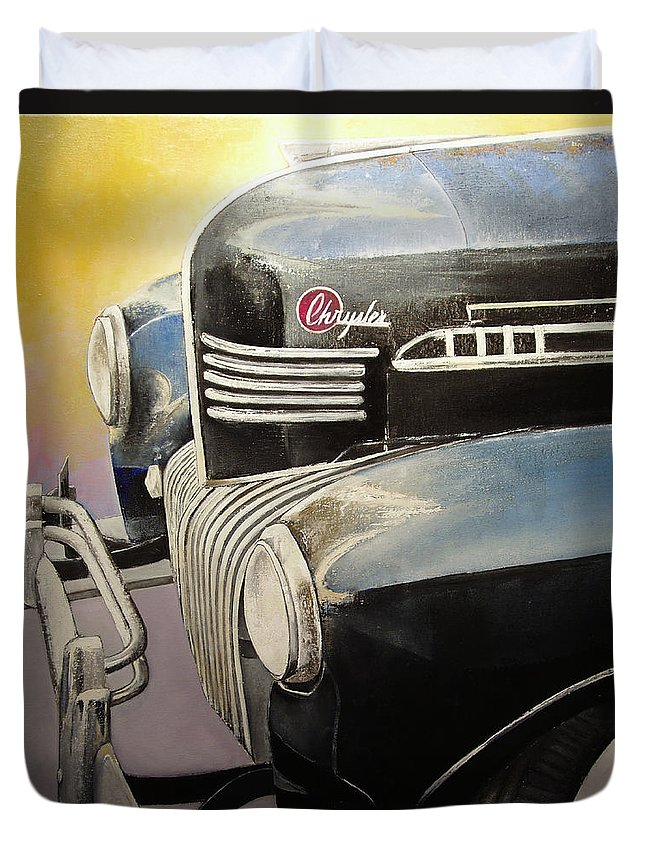 Old Duvet Cover featuring the painting Old Chrysler by Tomas Castano