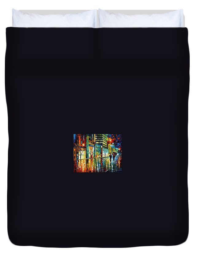 Afremov Duvet Cover featuring the painting Old City by Leonid Afremov