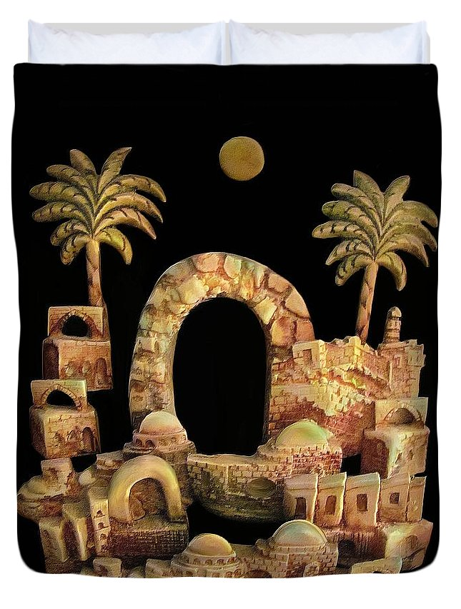 Jerusalem Duvet Cover featuring the painting Old City by Rafi Talby