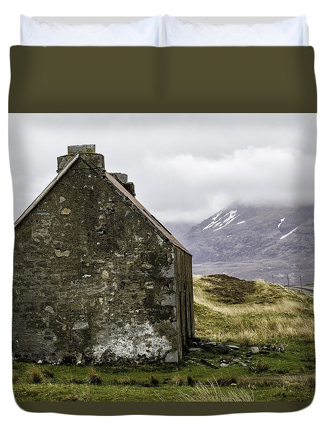 Croft Duvet Cover featuring the photograph Old Croft Cottage by Fran Gallogly