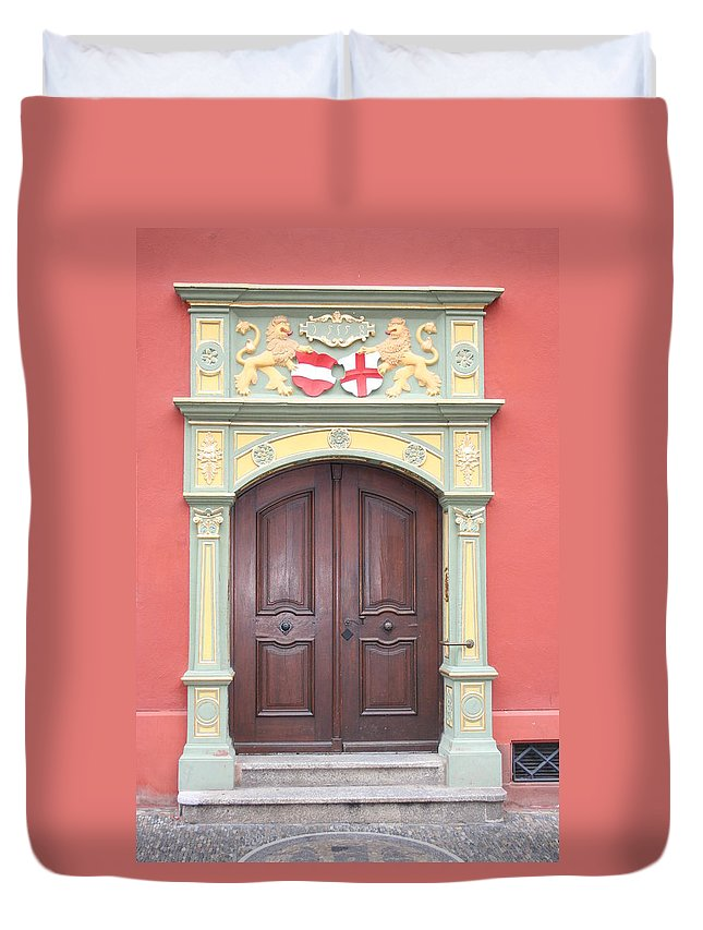 Door Duvet Cover featuring the photograph Old Door And Emblem by Christiane Schulze Art And Photography