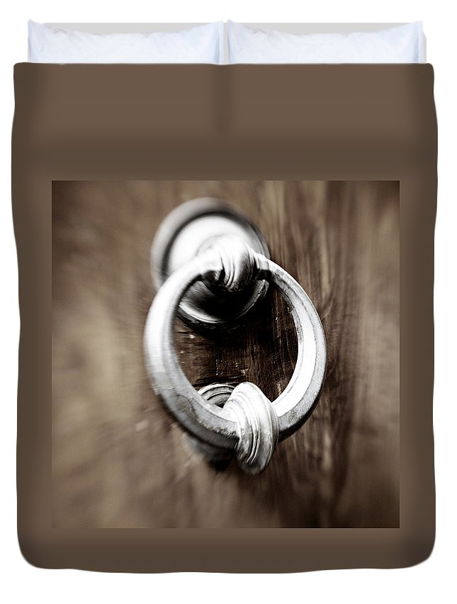 Home Duvet Cover featuring the photograph old Door Knocker by Marilyn Hunt