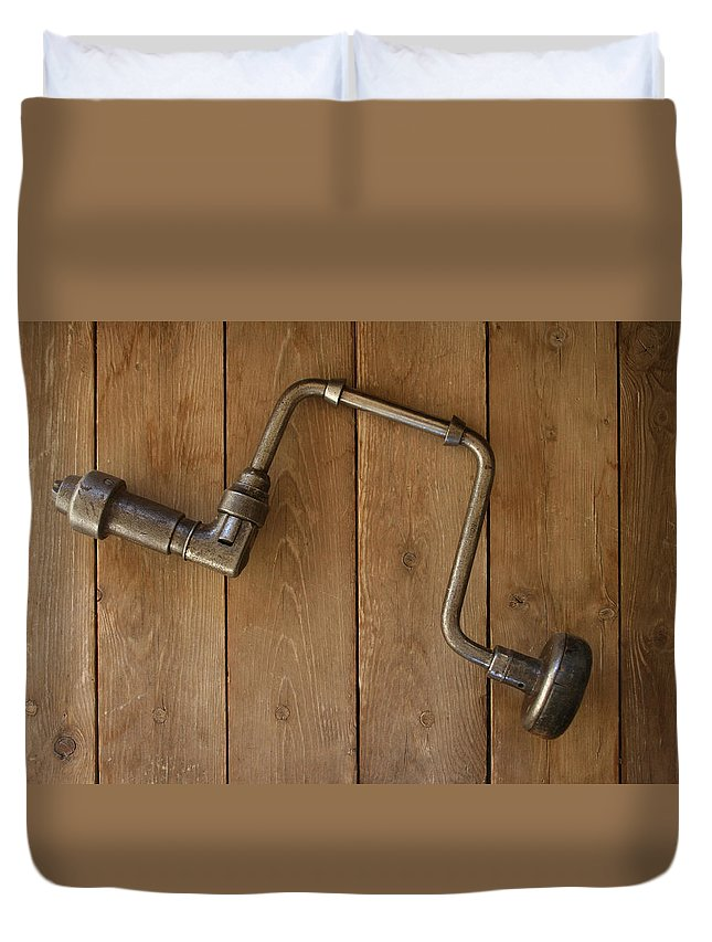 Tool Duvet Cover featuring the photograph Old Drill by Marna Edwards Flavell
