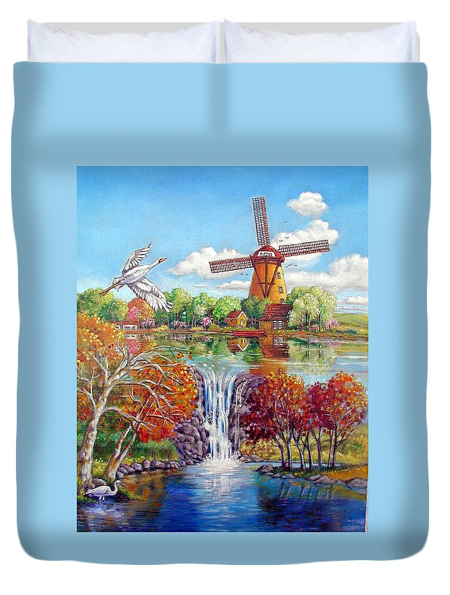 Dutch Windmill Duvet Cover featuring the painting Old Dutch Windmill by John Lautermilch