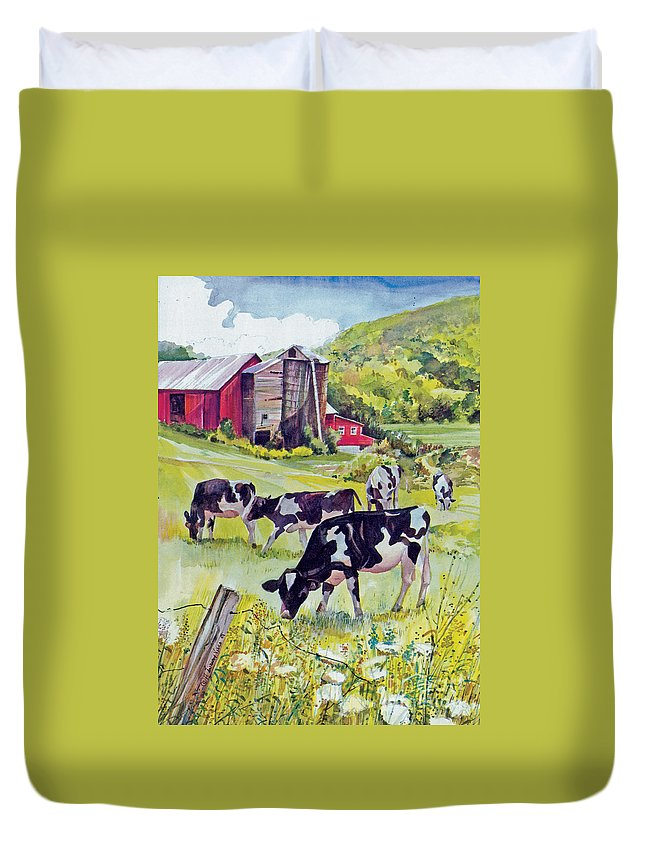 Cows Duvet Cover featuring the painting Old Farm by P Anthony Visco