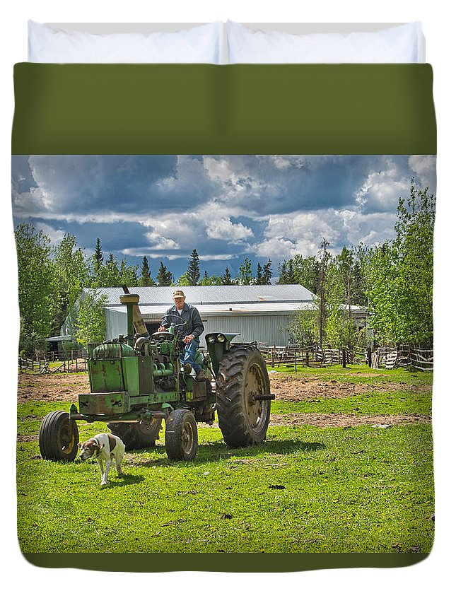 Tractor Duvet Cover featuring the photograph Old Farmer Old Tractor Old Dog by Cathy Mahnke