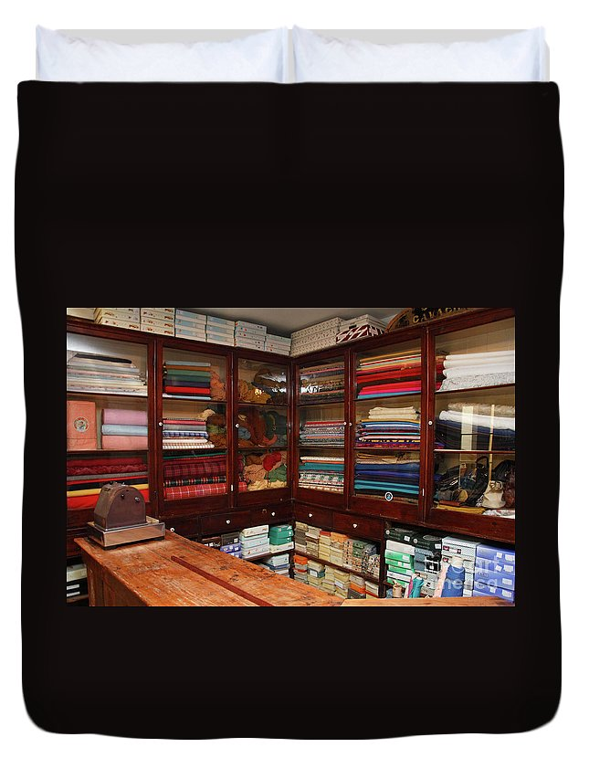 Fabric Shop Duvet Cover featuring the photograph Old-fashioned Fabric Shop by Gaspar Avila