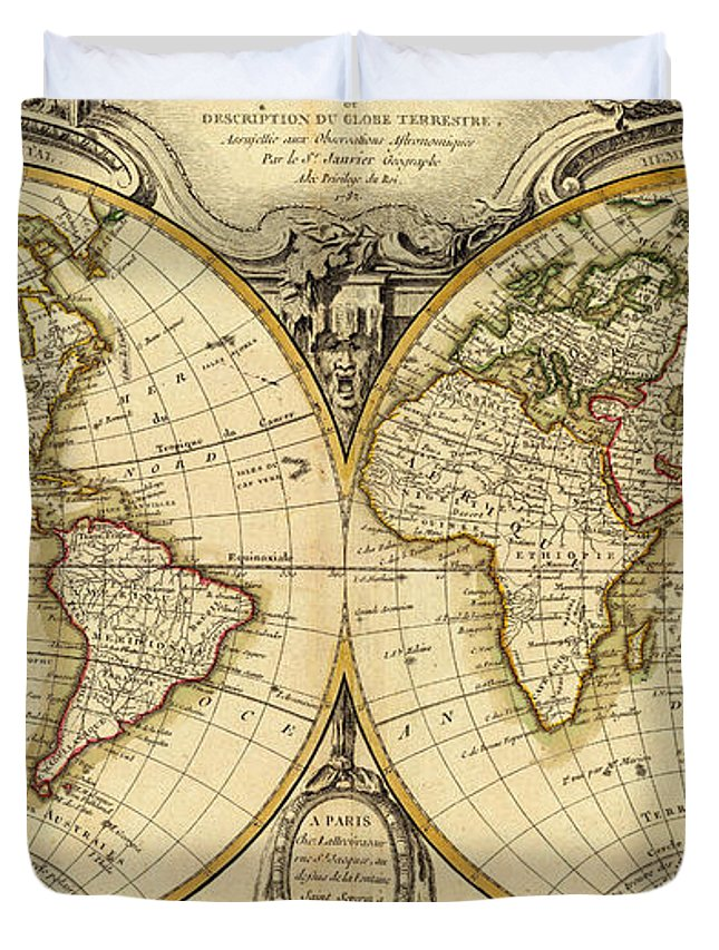 Old Fashioned World Map Duvet Cover For Sale By - Old time world map