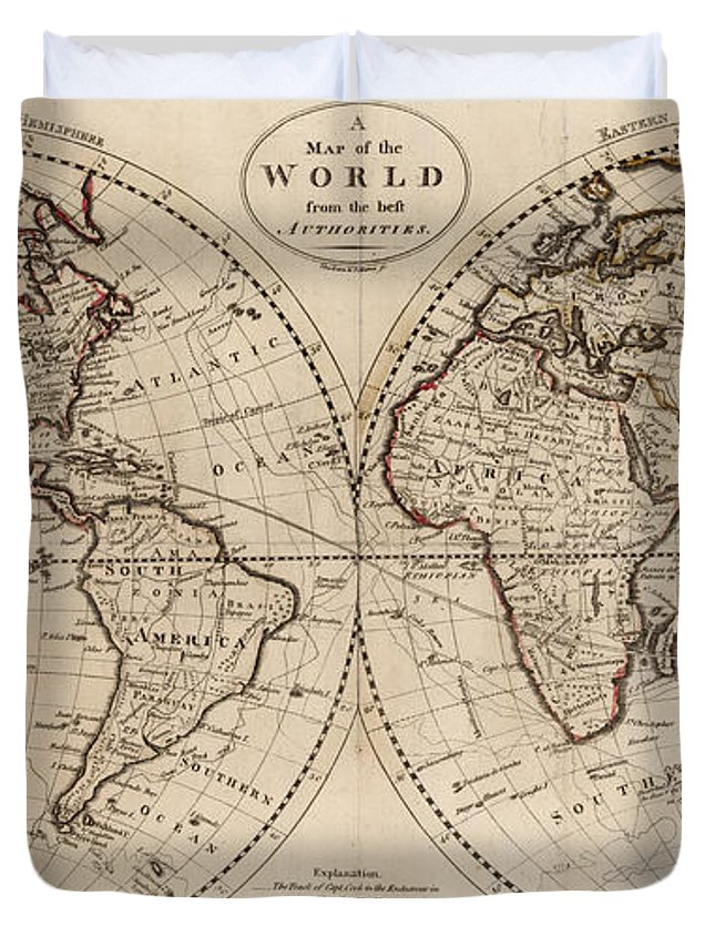 Old Fashioned World Map Duvet Cover For Sale By - World map for sale