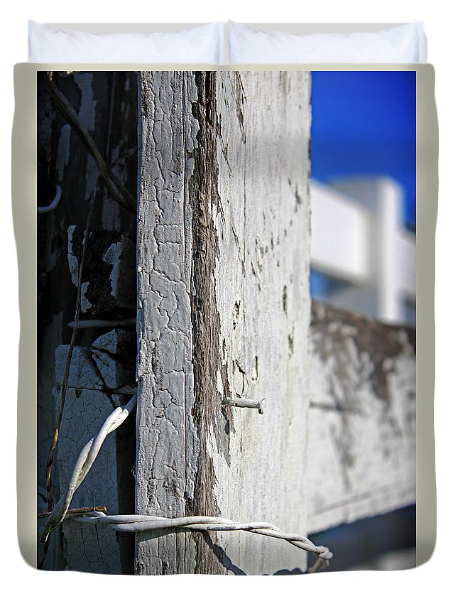 Abstract Duvet Cover featuring the photograph Old Fence Post by Todd Blanchard