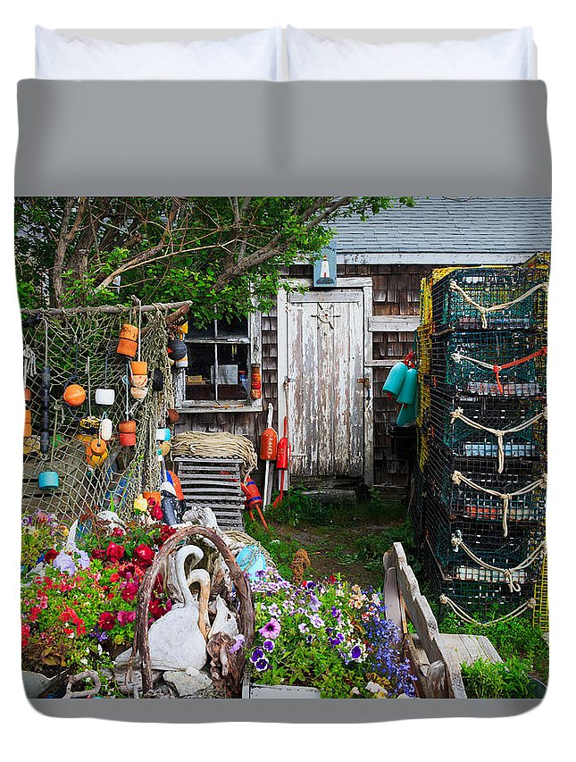 Cape Neddick Duvet Cover featuring the photograph Old Fishing House 2 by Emmanuel Panagiotakis