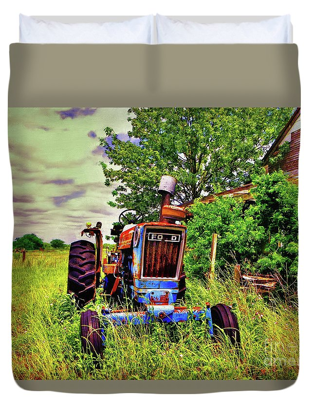 Old Duvet Cover featuring the photograph Old Ford Tractor by Savannah Gibbs
